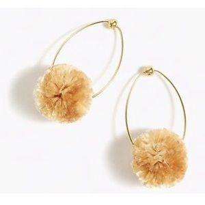 BNWT j crew raffia Pom Pom earrings